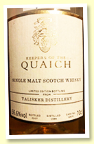 Talisker 1998/2017 (56.6%, OB for Keepers Of The Quaich, cask #6829, refill sherry butt, 618 bottles)