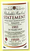 Tomatin 24 yo 1993/2017 (53.2%, Blackadder, Raw Cask Statement, hogshead, sherry finish, cask #9727, 190 bottles)