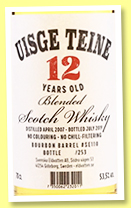Uisge Teine 12 yo 2007/2019 (53.5%, Svenska Eldvatten, blended Scotch, bourbon barrel, cask #SE110, 253 bottles, 2019)