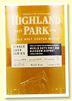 Highland Park 13 yo 2004/2018 (63.5%, OB for Glasgow Airport Duty Free, cask #6569, refill butt, 660 bottles)