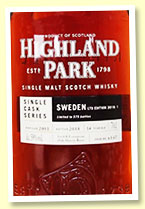 Highland Park 14 yo 2003/2018 (59%, OB for Sweden 'Ltd Edition 2018: 1', cask #6147, 1st fill European oak sherry butt, 575 bottles)