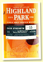 Highland Park 15 yo 2004/2018 (60.3%, OB 'Distillery Exclusive', cask #1938, 1st fill American oak sherry puncheon, 572 bottles)