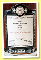 Highland Park 1998/2020 (52.5%, Malts of Scotland, for my-whisky-shop, sherry hogshead, cask #MoS20021, 144 bottles)