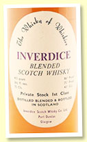Inverdice Blended Scotch 'The Whisky of Whiskies - Private stock 1st class' (75 proof, Inverdice Scotch Whisky Co, 1960s)