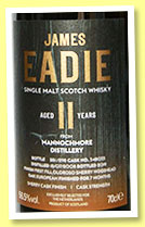 Mannochmore 11 yo 2008/2019 (56.5%, James Eadie, for the Netherlands, oloroso finish, cask #348033, 298 bottles)