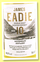 Miltonduff 10 yo 2009/2020 (46%, James Eadie, Small Batch, first fill bourbon, 576 bottles)
