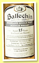 Ballechin 15 yo 2004/2019 (52%, OB for Independent Whisky Bars of Scotland, bourbon, casks #74-76, 462 bottles)