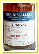 Braeval 16 yo 2000/2017 'The Distillery Reserve Collection' (54.7%, OB, cask #5116, second fill hogshead, 288 bottles)