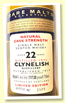 Clynelish 22 yo 1972/1995 (58.64%, OB 'Rare Malts', USA)