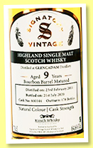 Glencadam 9 yo 2011/2020 (64.6%, Signatory Vintage, for Kirsch Import, bourbon barrel, cask #800144, 178 bottles)