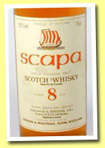 Scapa 8yo (40%, Gordon & MacPhail licensed bottling, 1980's)