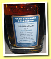 Bunnahabhain 26yo 1978/2005 (54.6%, Signatory Cask Strength, sherry butt #2539, 468 bottles)