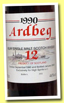 Ardbeg 12 yo 1990/2003 (46%, High Spirits, 312 bottles)