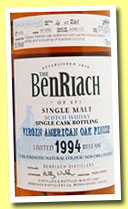 Benriach 18 yo 1994/2013 (55.5%, OB, batch 10, virgin American oak hogshead, cask #4385, 261 bottles)