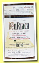 Benriach 36 yo 1976/2012 (49,6%, OB for The Whisky Agency, sherry hogshead, cask #963, 132 bottles)