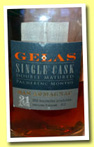 Gélas 21 yo 'Single Cask Double Matured' (44.2%, OB, bas-armagnac, 305 bottles, +/-2012)