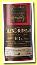 Glendronach 41 yo 1972/2013 (51.7%, OB, batch 9, oloroso sherry butt, cask #702, 448 bottles)