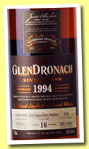 Glendronach 16 yo 1994/2011 (56%, OB for K&L Wine Merchants USA, Pedro Ximenez Puncheon, cask #3186, 606 bottles)