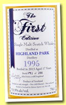 Highland Park 17 yo 1995/2013 (53.9%, The First Edition, refill hogshead, 286 bottles)
