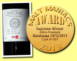 Karuizawa 1973/2013 (67.7%, Number One Drinks, sherry oak, cask #1607, 138 bottles)