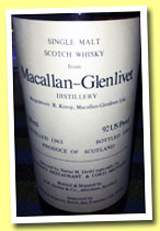 Macallan-Glenlivet 1963/1983 (92 US Proof, Duthie for Narsai's and Corti Bros, USA, 75cl)